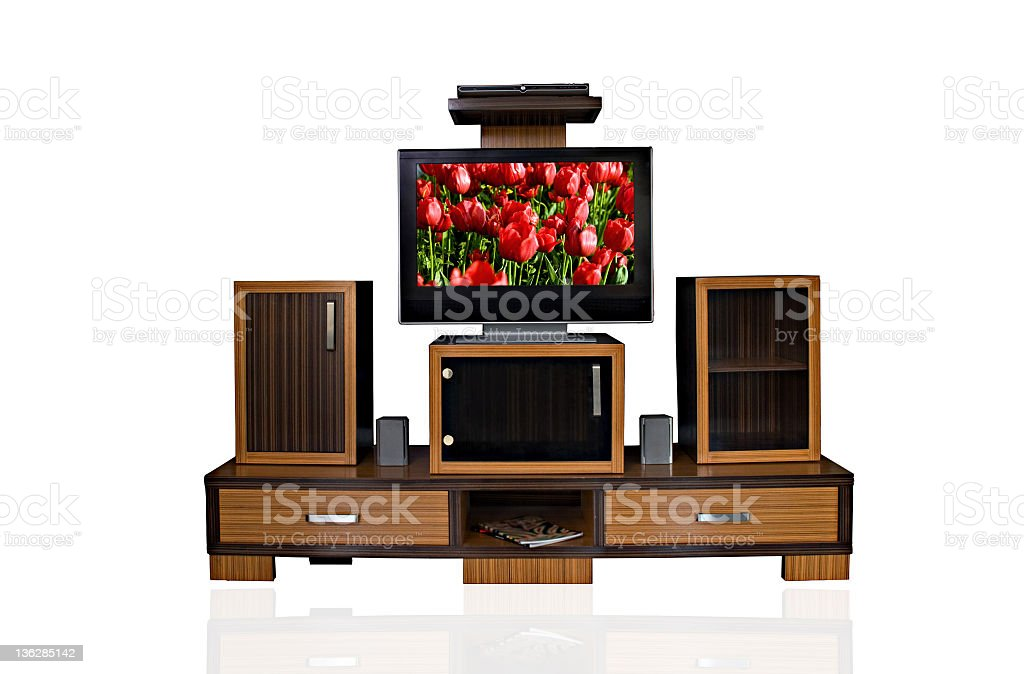 TV stand set stock photo