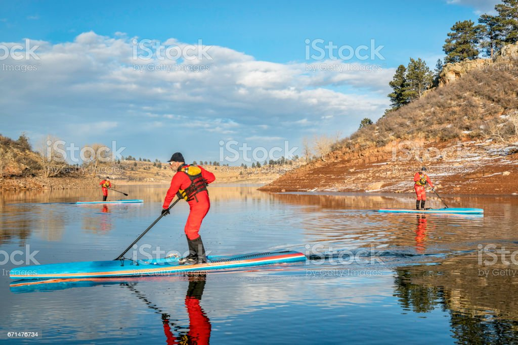 stand up paddling workout in Colorado stock photo