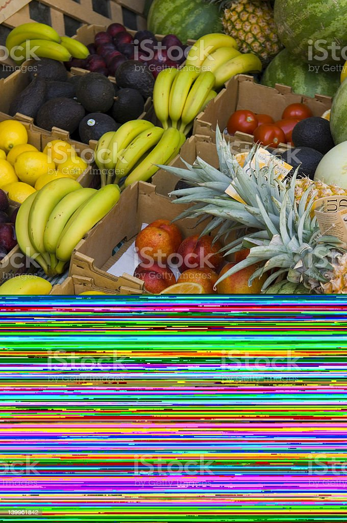 Stand with a variety of fresh fruits royalty-free stock photo