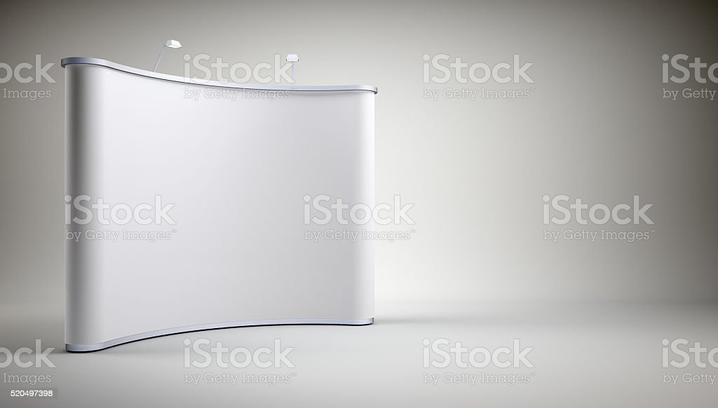 Stand with blank screen stock photo