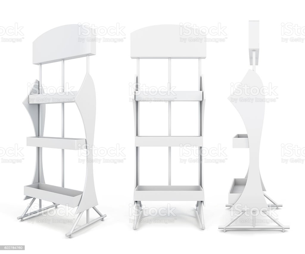 Stand with shelves from different angles. stock photo