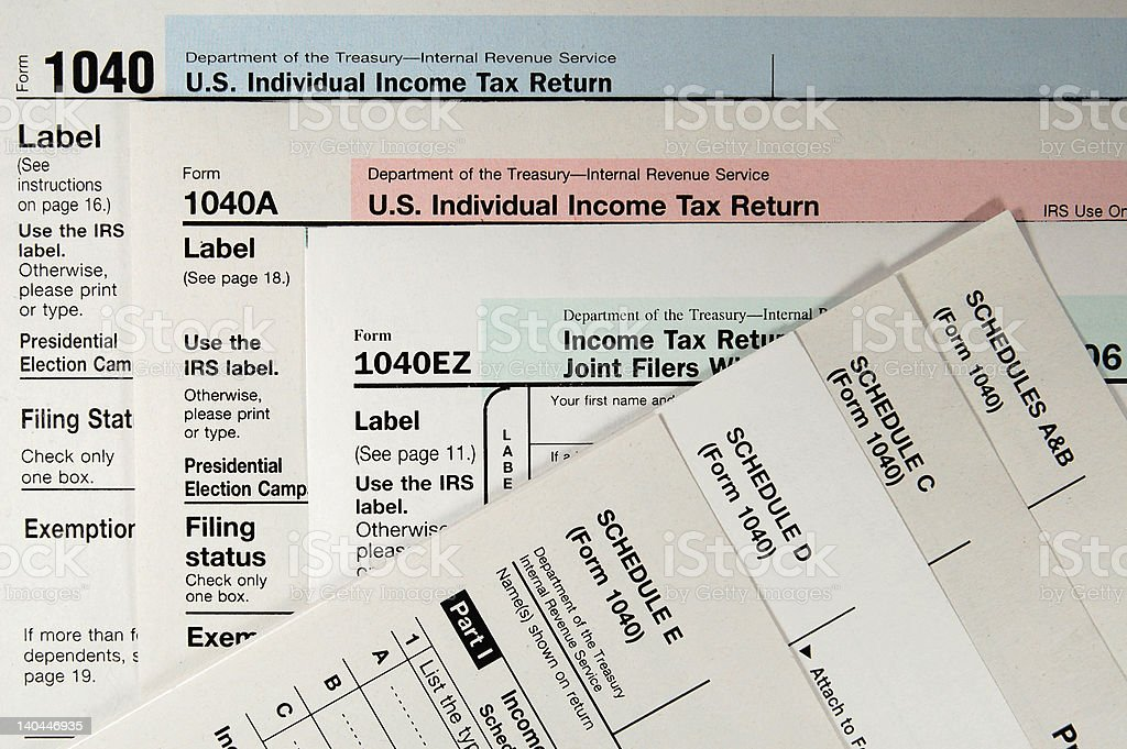 Standard 1040 Tax Forms and Schedules. royalty-free stock photo