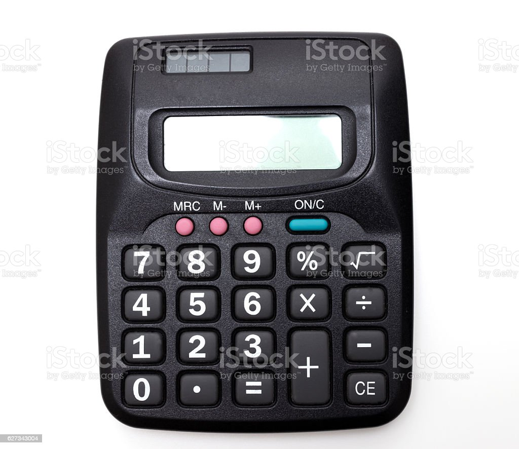 Standard black calculator stock photo