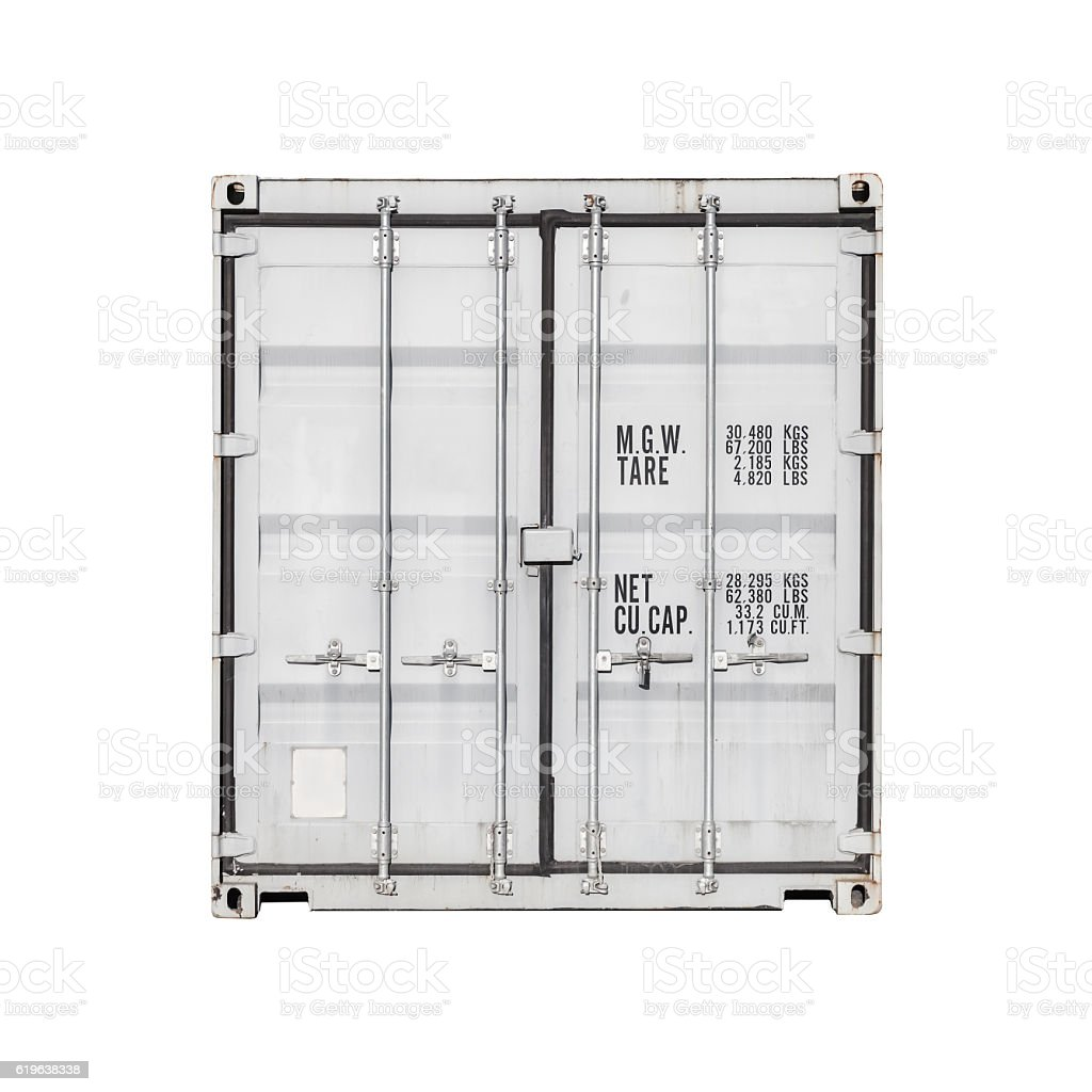 Standard cargo container isolated stock photo