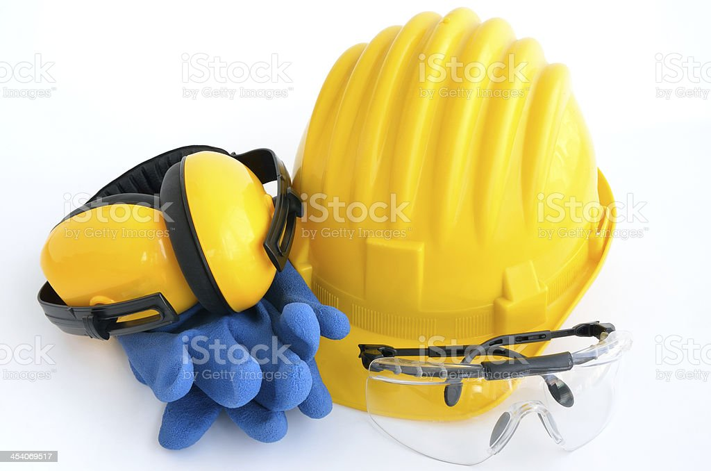 Standard construction safety equipment, it is isolated on white stock photo