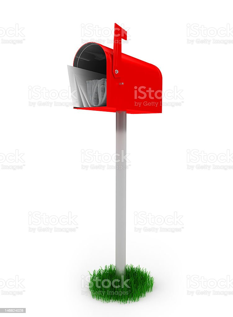 standard red mailbox with mail royalty-free stock photo