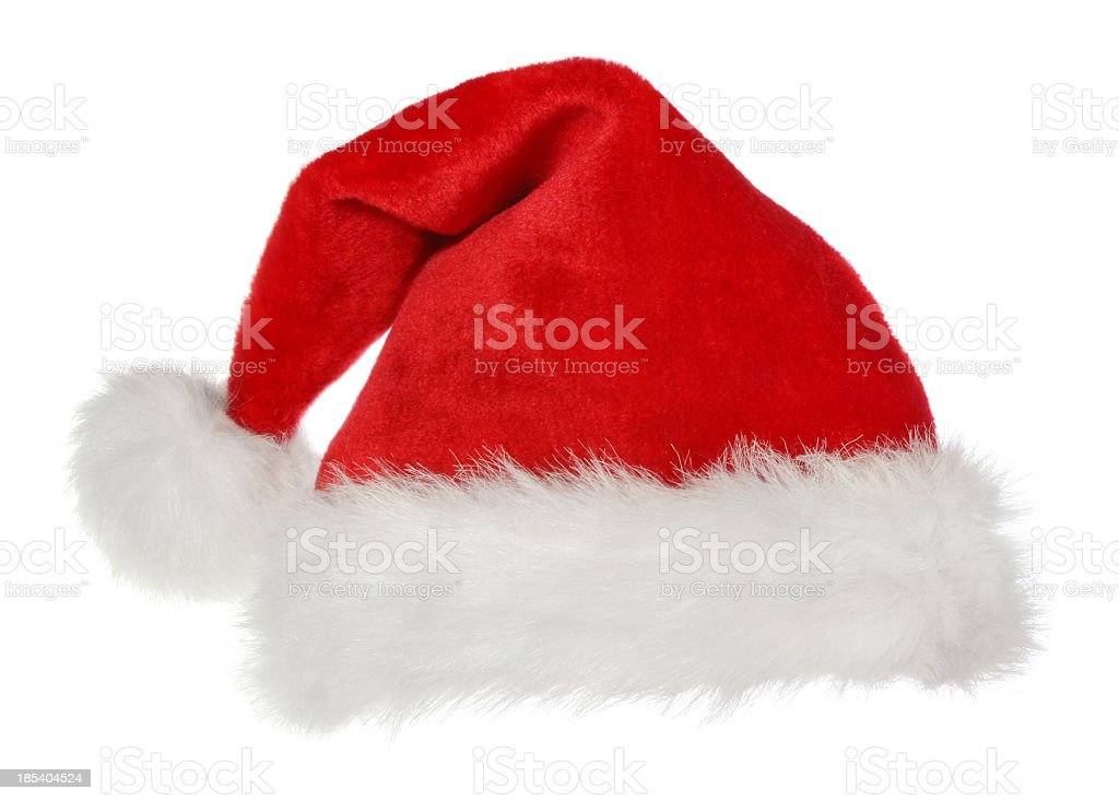 A standard Santa Claus hat on a white background stock photo