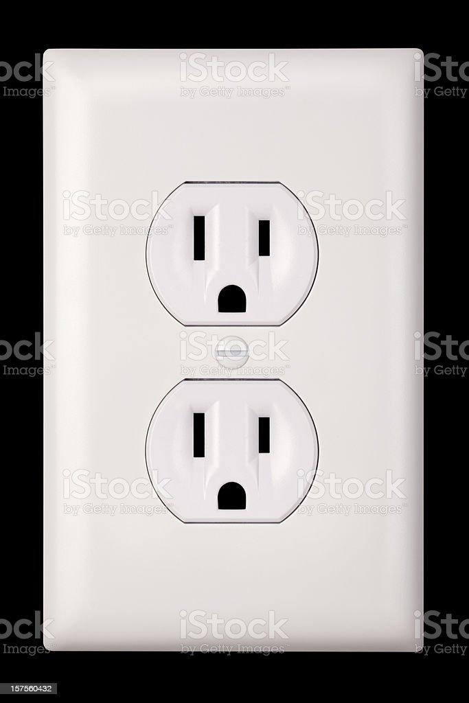 Standard Two Plug, Three Prong Grounded United States Electrical Outlet royalty-free stock photo