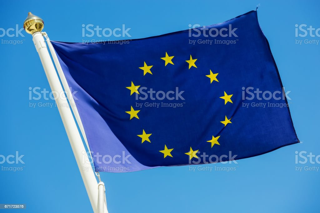 Standard waving flag of the European Union stock photo