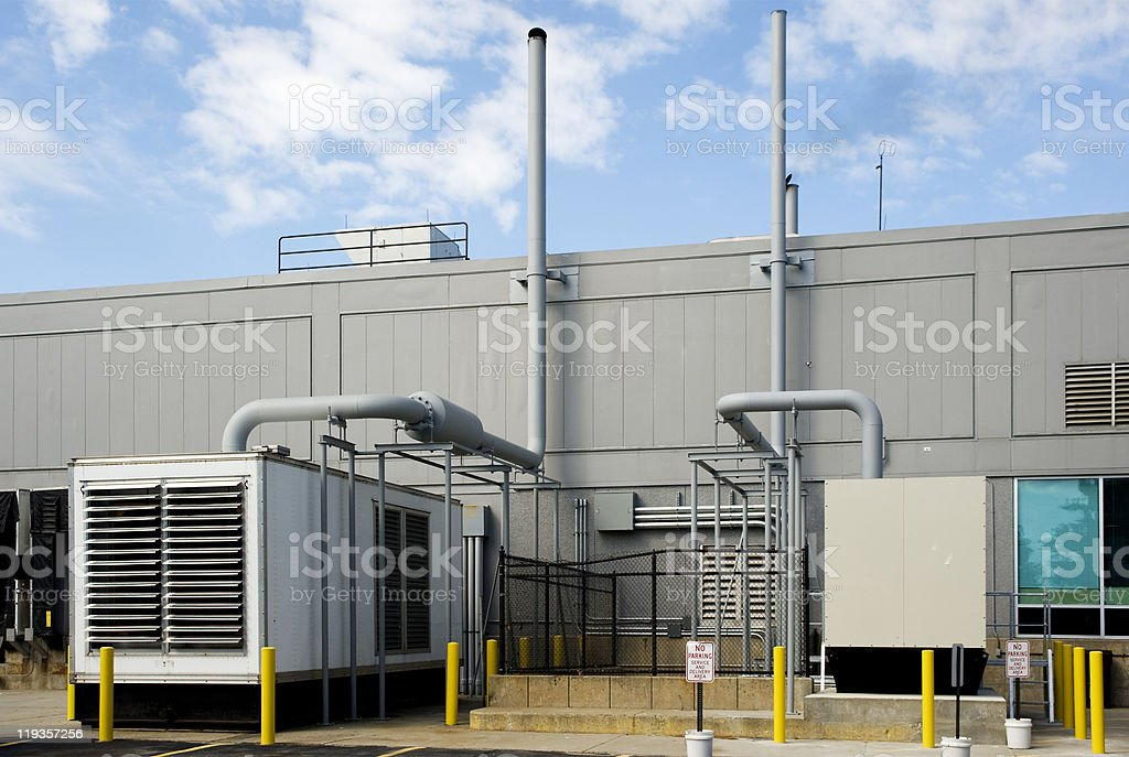 Standby generators stock photo