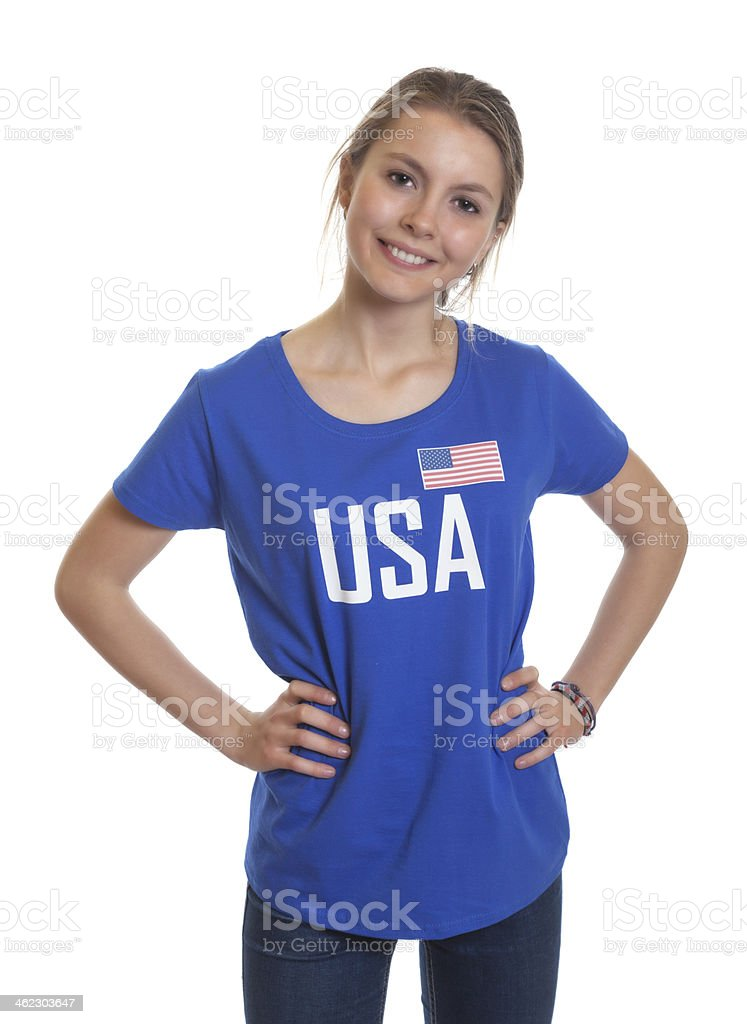 Standing american woman stock photo