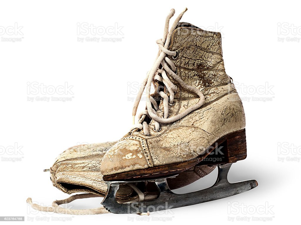 Standing and lying old woman skates stock photo