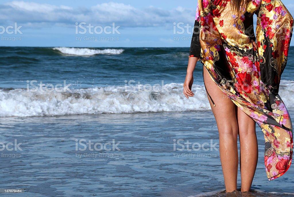 Estar de pie en la playa foto de stock libre de derechos