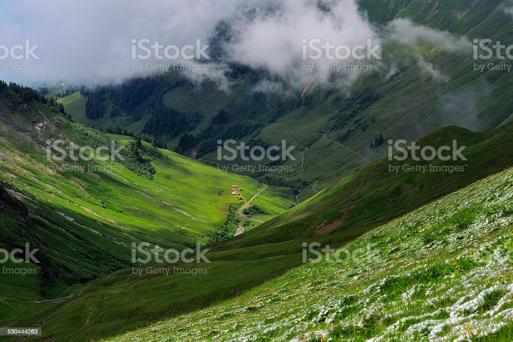 Standing at the top of Brienzer Rothorn 01 stock photo