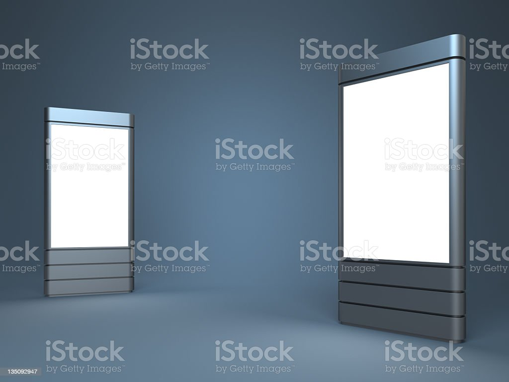 Standing blank advertising digital posters royalty-free stock photo