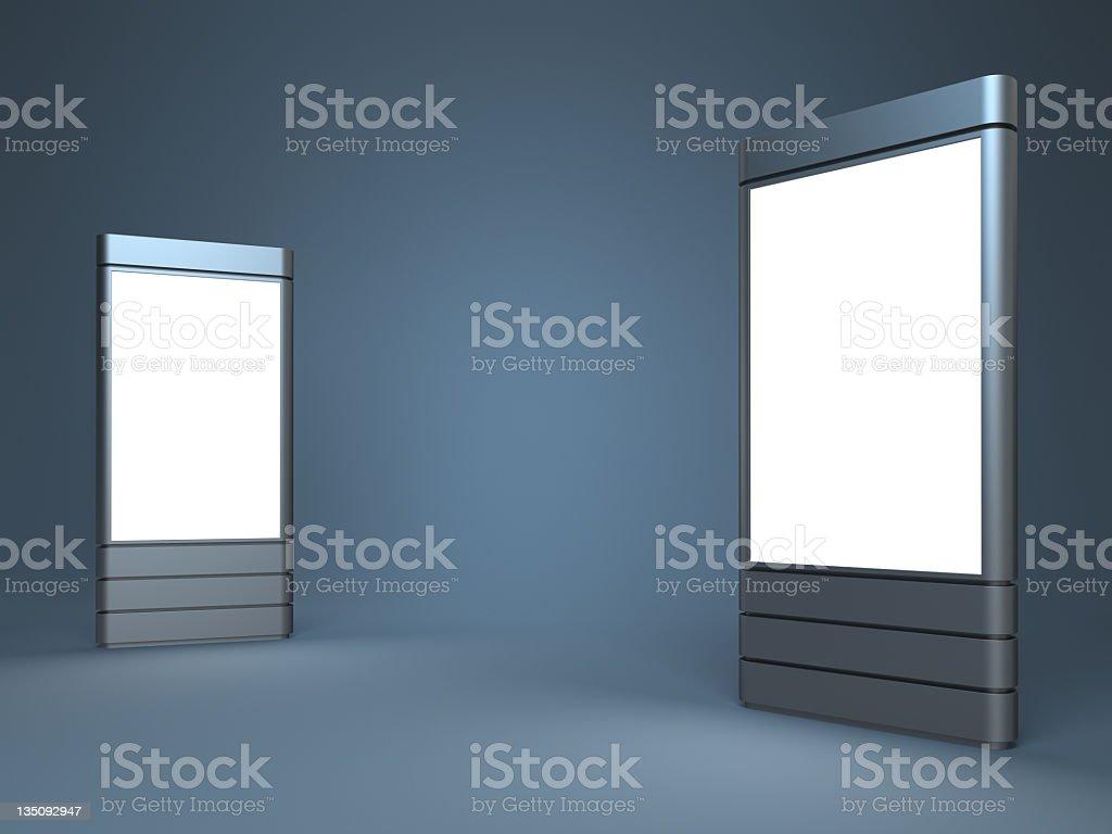 Standing blank advertising digital posters stock photo