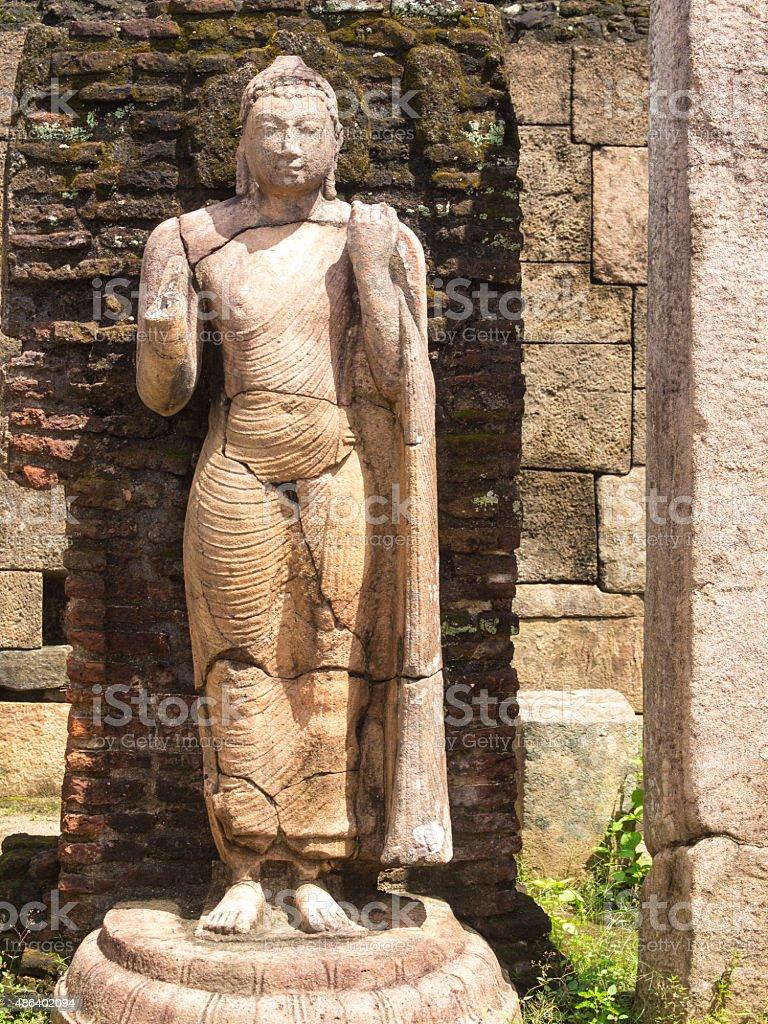 Standing Buddha at anciebt shrine Hetadage of Polonnaruwa, Sri Lanka stock photo