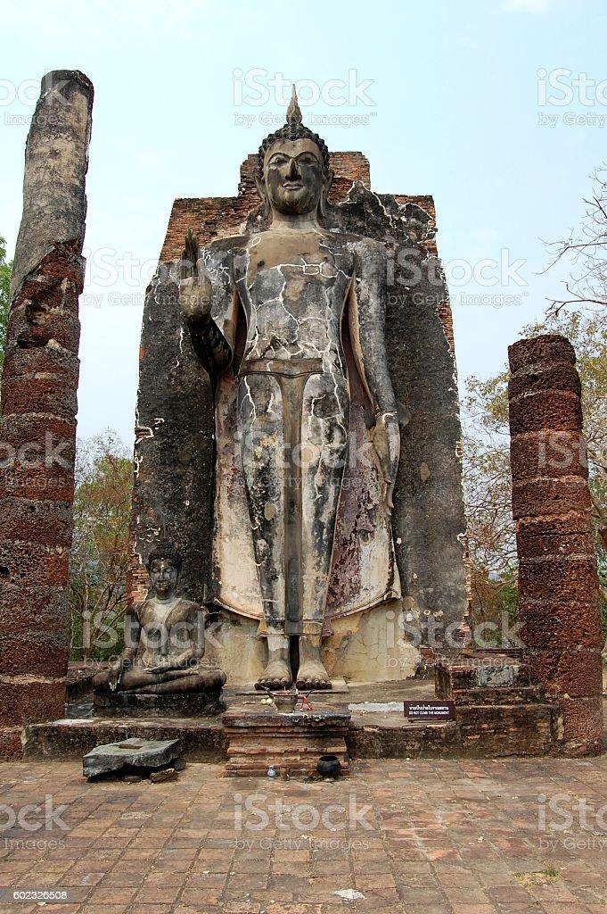 Standing Buddha, Sukhothai Thailand stock photo