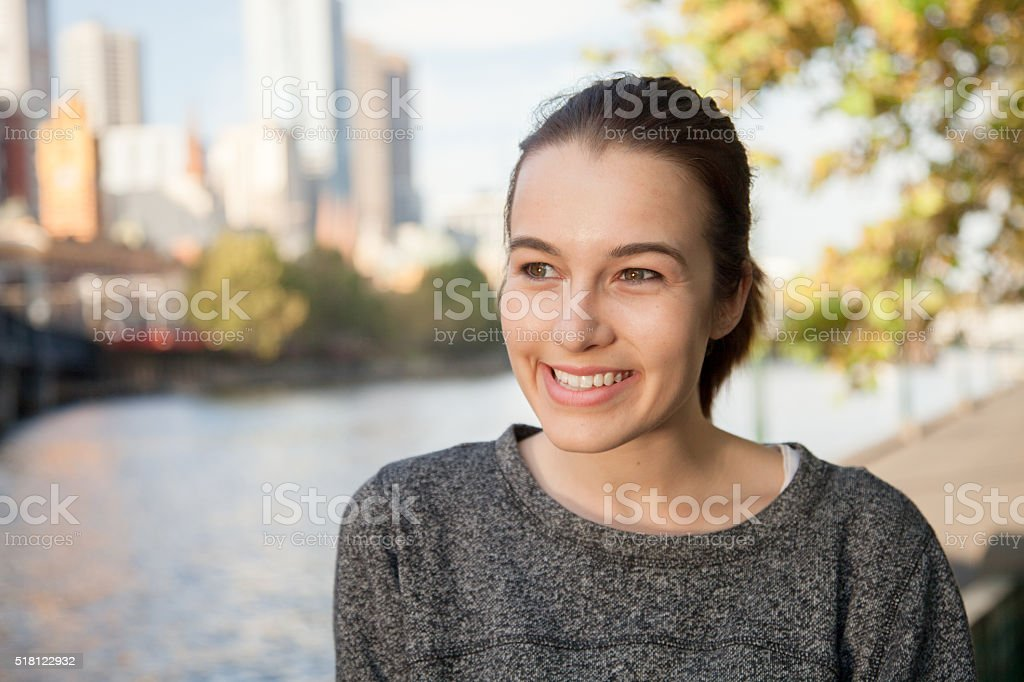 Standing by the Banks of the Yarra stock photo