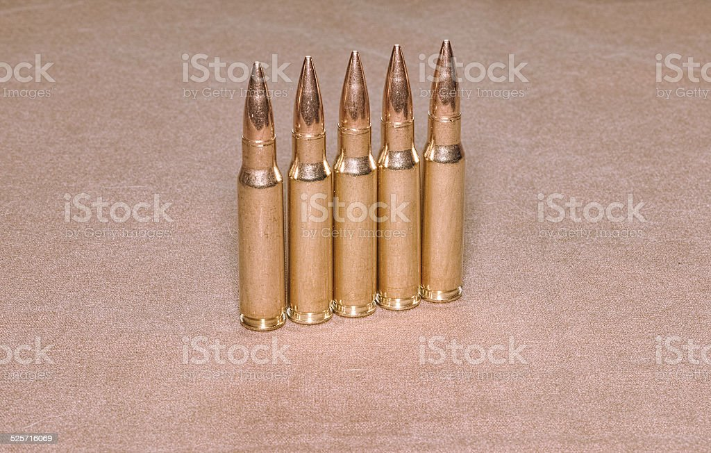 standing cartriges 308 caliber with full metal jacket bullets stock photo