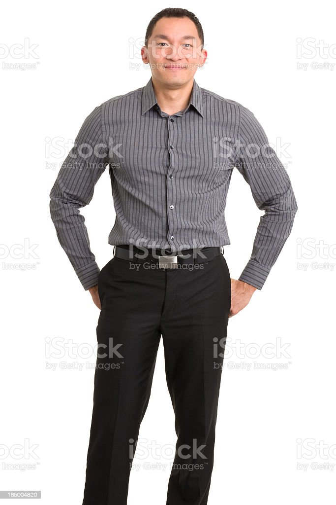 Standing Content Asian Man stock photo