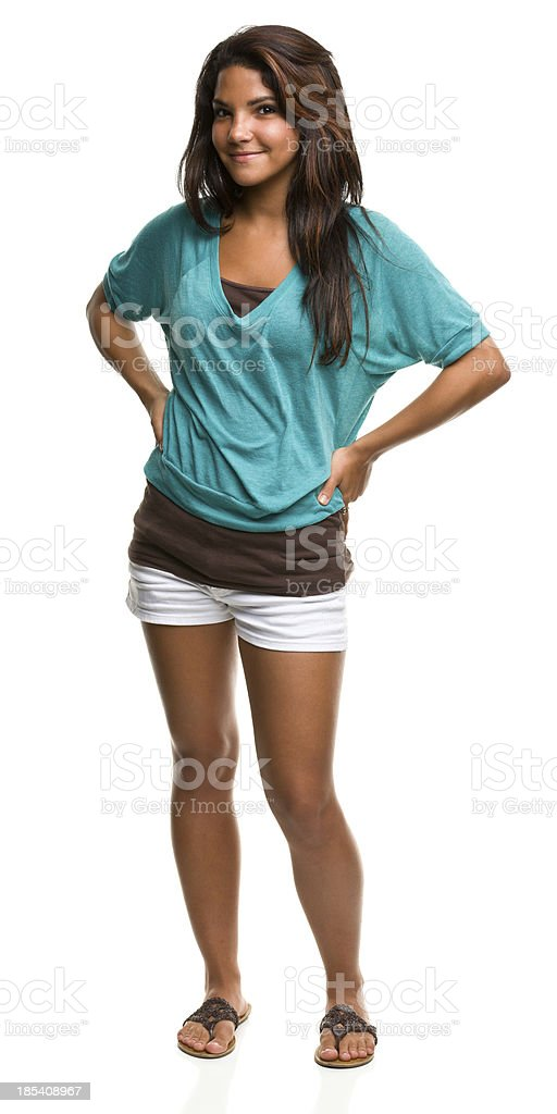 Standing Content Young Woman royalty-free stock photo