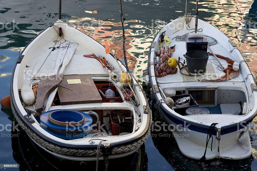 Standing Fishing Boats - Liguria (Italy) royalty-free stock photo