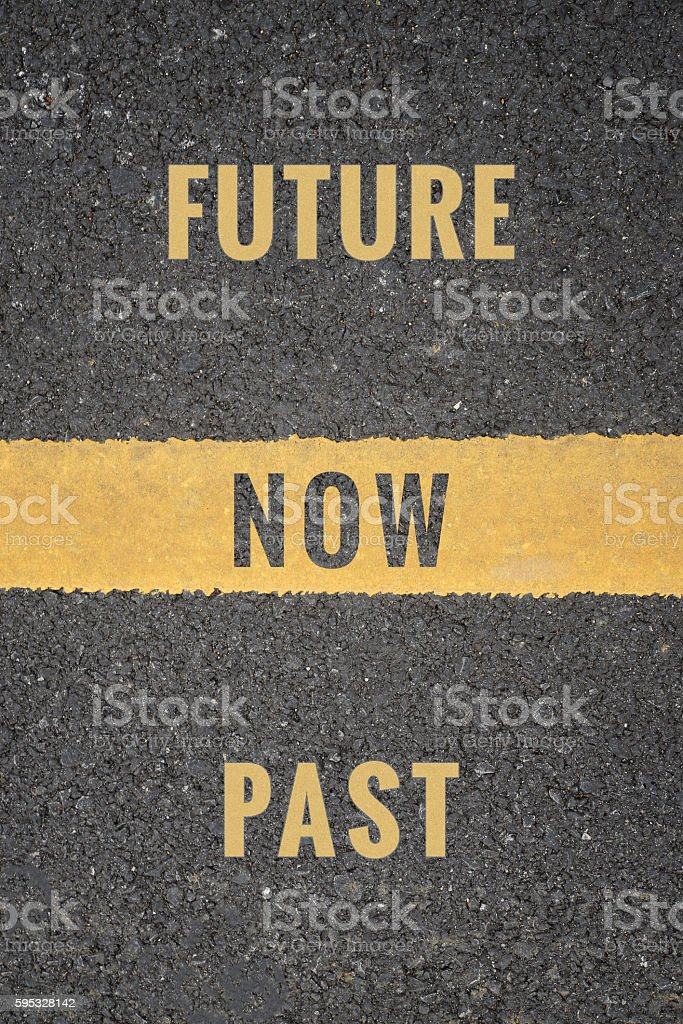 Standing from past to now go ahead to future stock photo
