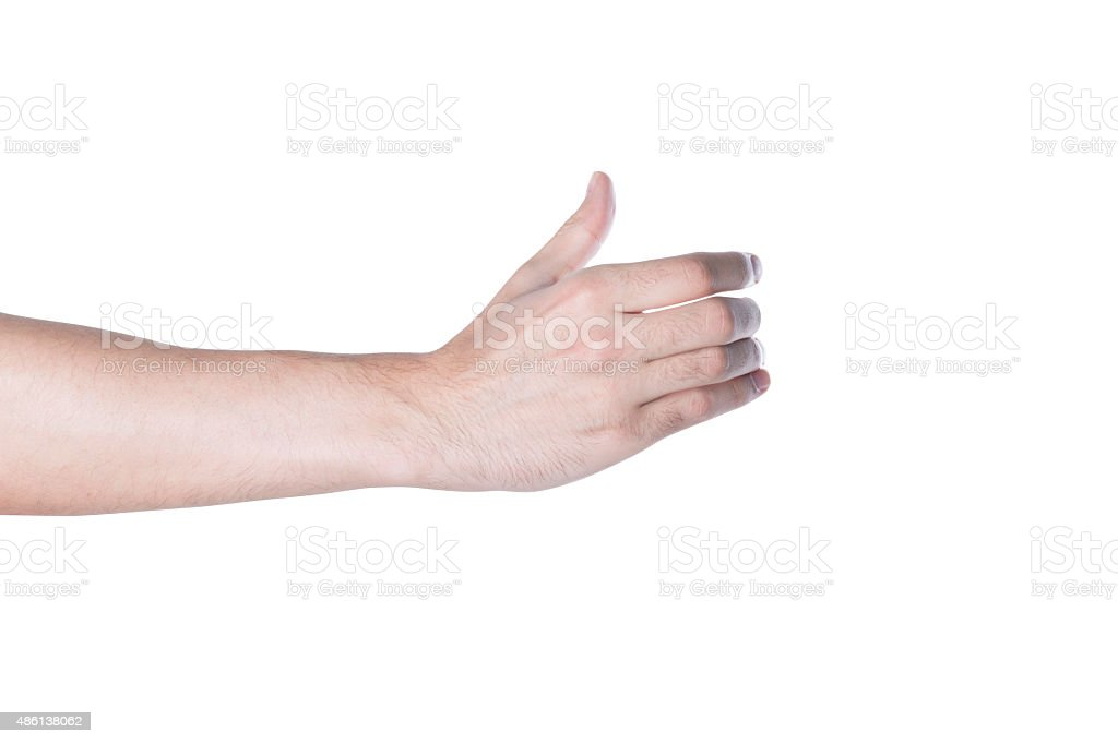 Standing glass to keep the hands of men stock photo