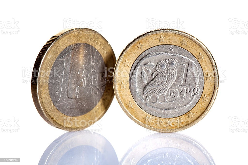 Standing Greek euro coins - isolated on white stock photo