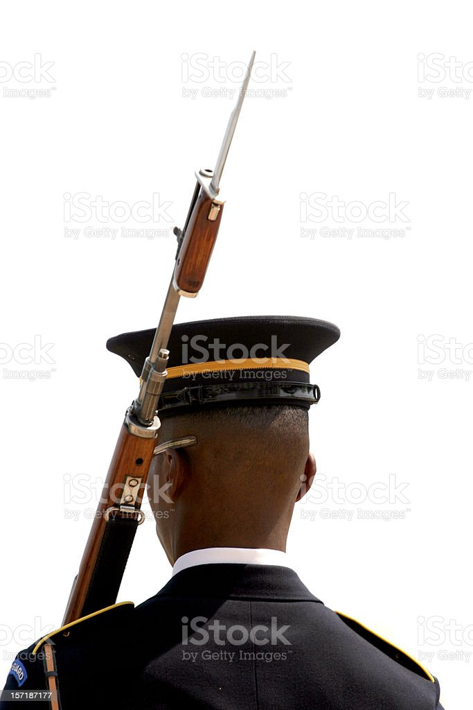 Standing Guard at Tomb of the Unknown Soldier royalty-free stock photo