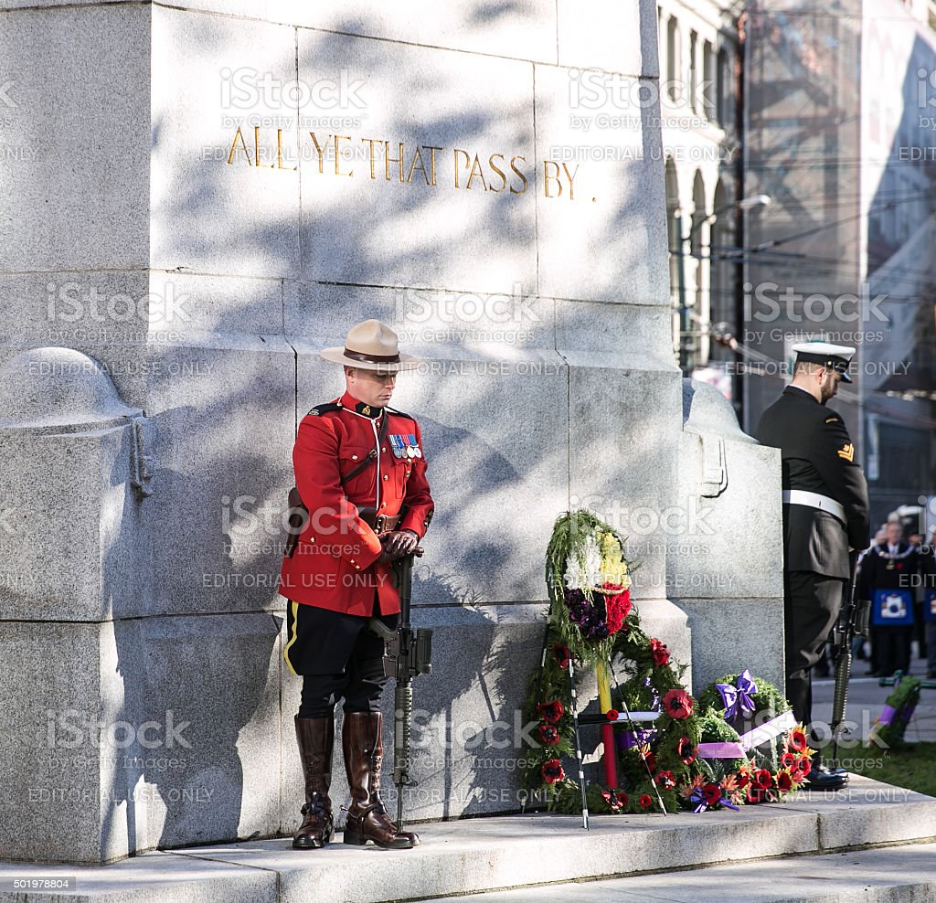 RCMP Standing Guard stock photo
