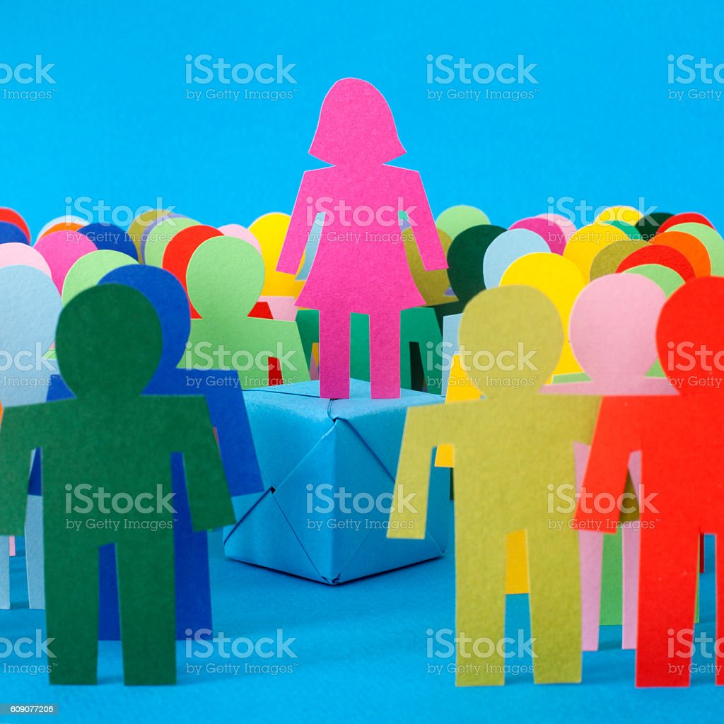 Standing higher than others stock photo