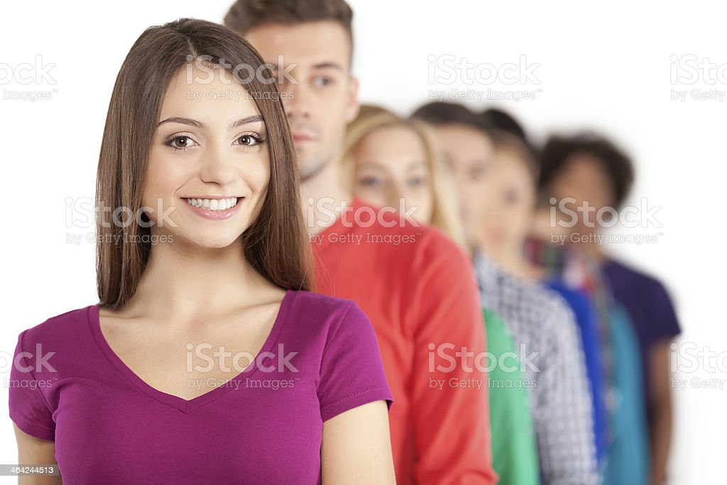 Standing in a row. stock photo