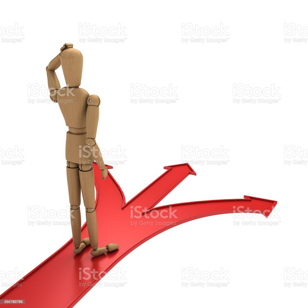 Standing in the crossroads of confusion back stock photo