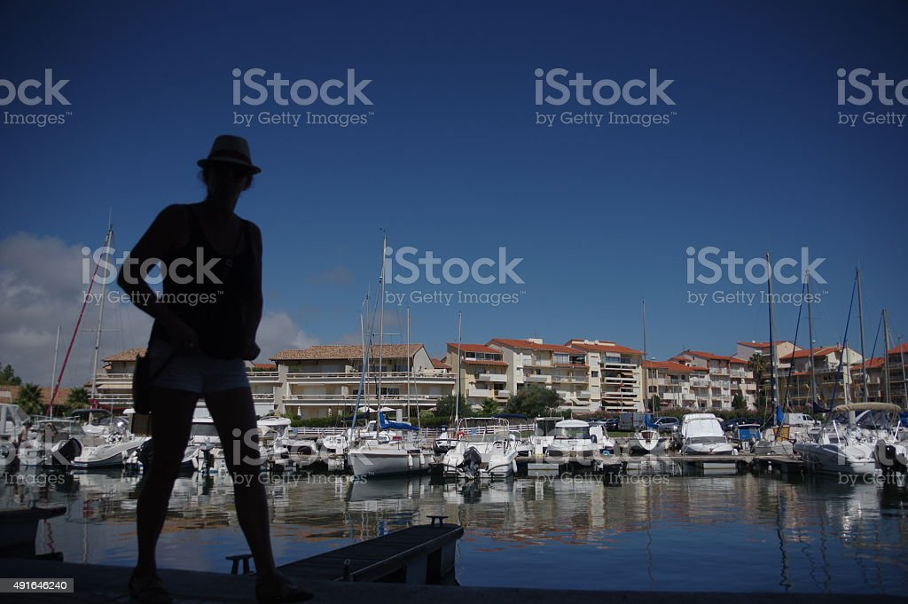 Standing in the habour stock photo