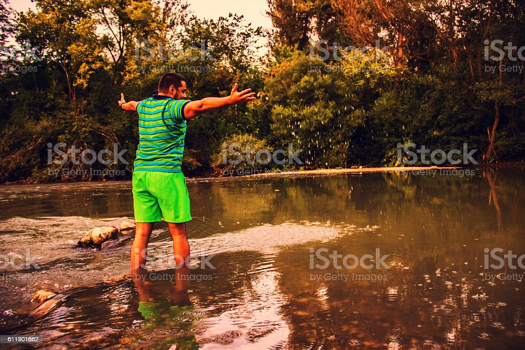 Standing in water royalty-free stock photo