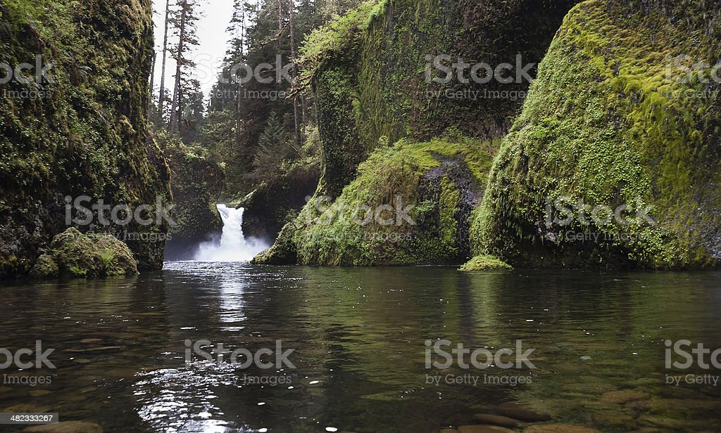 Standing in Water Punch Bowl Falls Columbia River Gorge stock photo