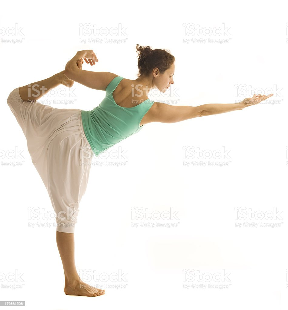 Standing in yoga pose royalty-free stock photo