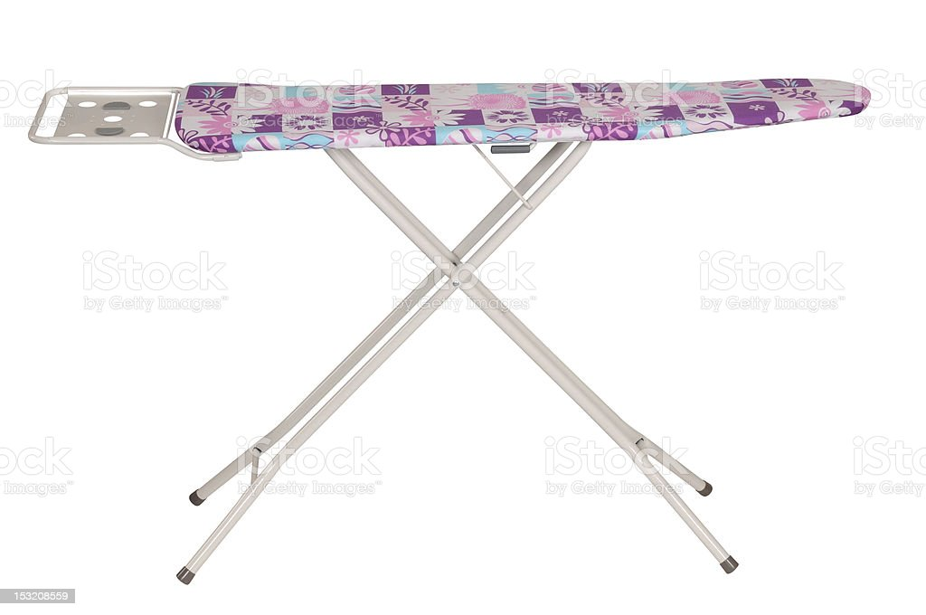 A standing ironing board on a white background stock photo