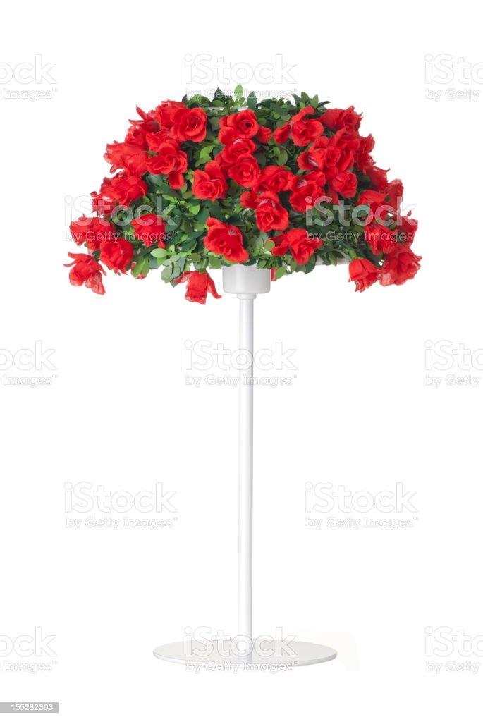 Standing lamp with red roses lampshade royalty-free stock photo