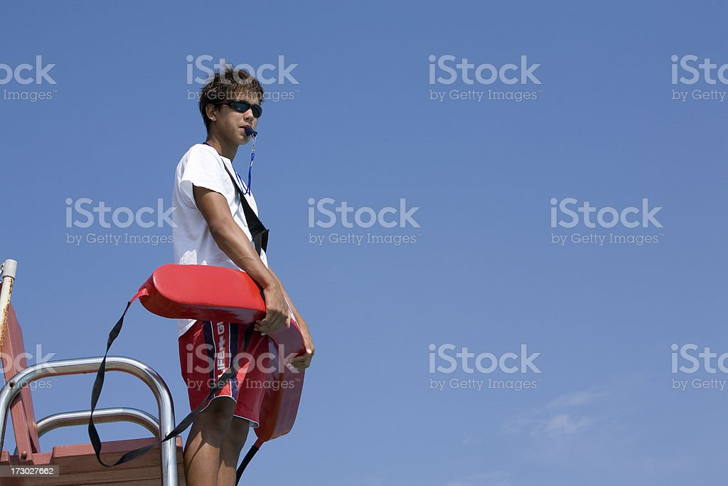 Standing Life Guard stock photo