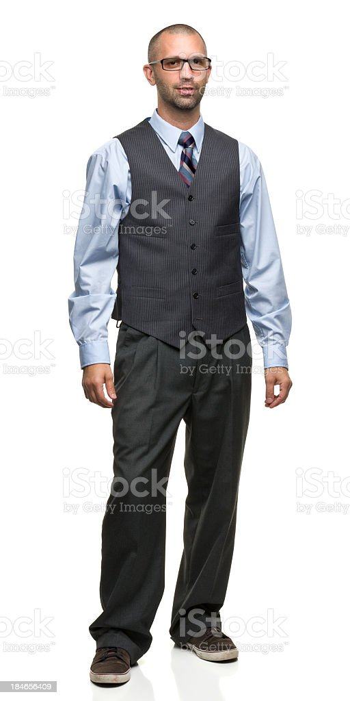 Standing Man in Vest and Tie royalty-free stock photo