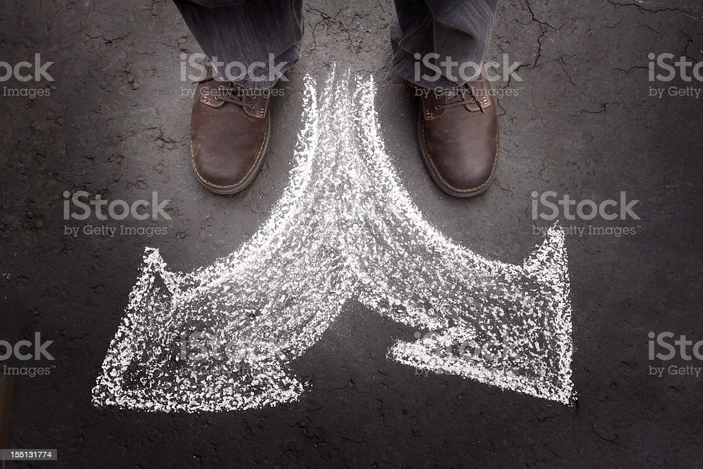 Standing Man with Two Choices (business) royalty-free stock photo