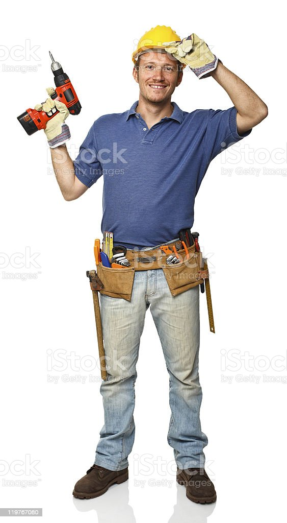 standing manual worker stock photo