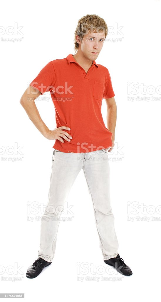 Standing men in orange t-shirt isolated on white royalty-free stock photo