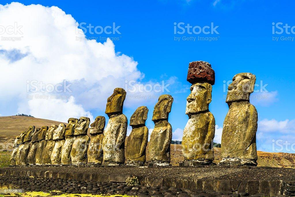 Standing Moai at Ahu Tongariki stock photo