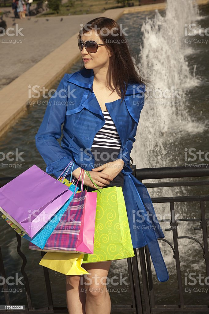 Standing near fountain royalty-free stock photo