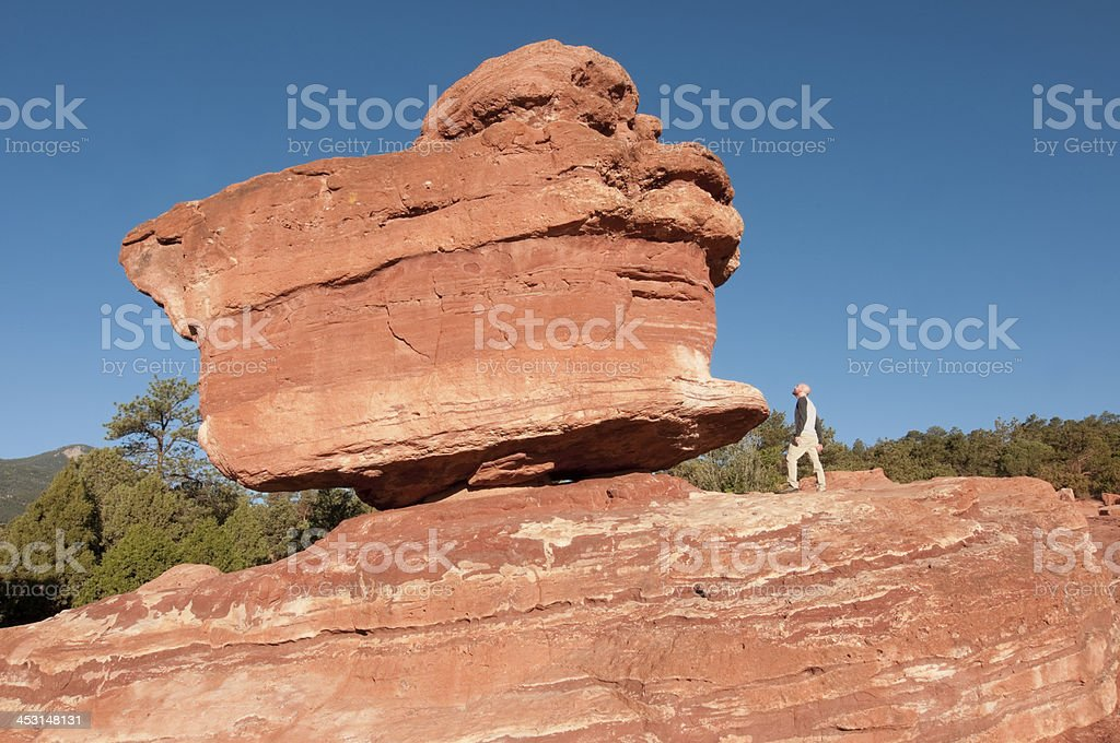 Standing Next to the Balancing Rock royalty-free stock photo