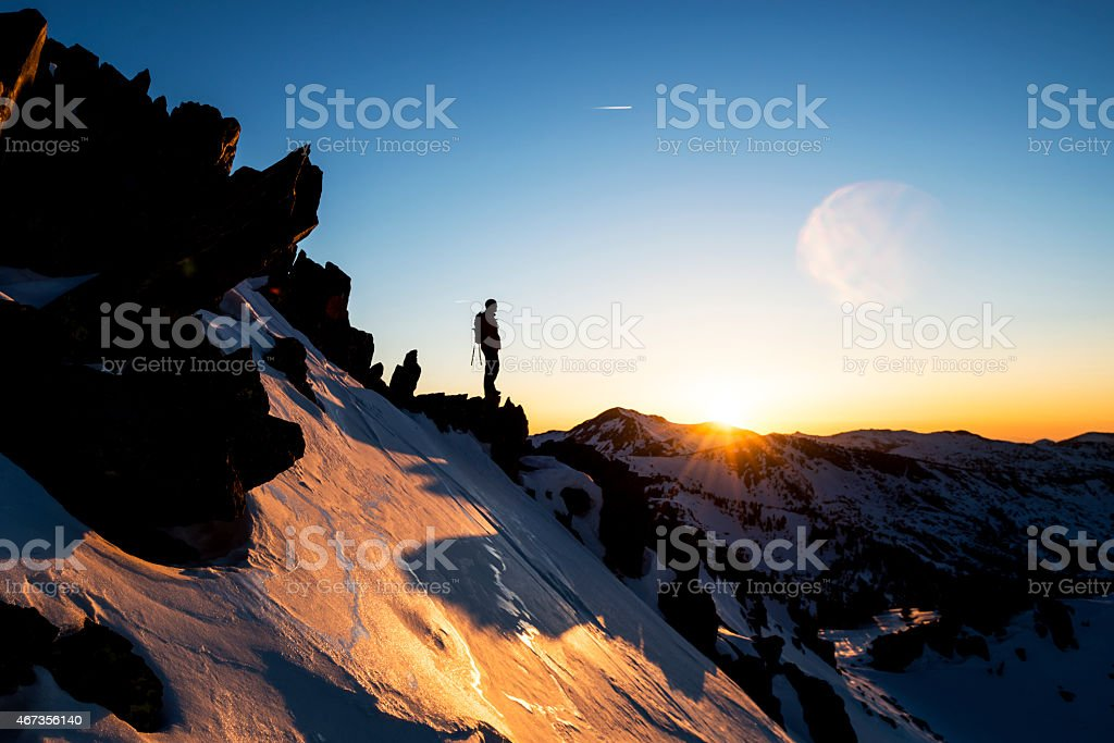 Standing on a mountain stock photo